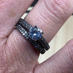 Black engagement And wedding ring